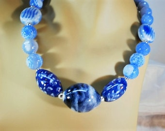 Faceted Blue Fire Agate and Porcelain Statement Necklace