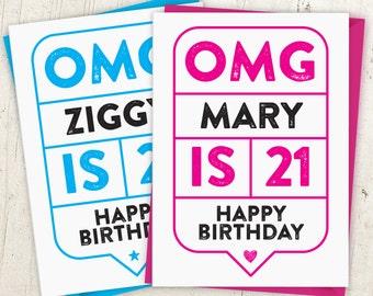 OMG 21st Birthday Speech Bubble Card