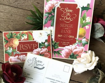 Digital - Printable Files - Chinese flower Wedding Invitation and Reply Card Set