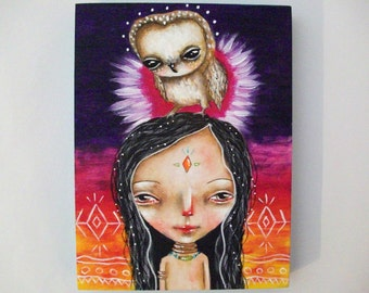 folk art Original girl painting whimsical owl mixed media art painting on wood canvas 8x6 inches - Spirit Guide