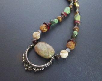 Boho statement necklace ~ beaded Bohemian necklace ~ beaded tribal necklace ~ unakite necklace ~ semiprecious stone ~ artisan necklace
