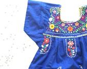 Mexican embroider empire girls summer dress