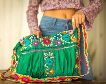 SALE Bohemian Embroidered Handbag Bonita Lolita Green