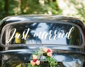 Just Married Wedding Getaway Car Sign Vinyl Wall Decal Sticker