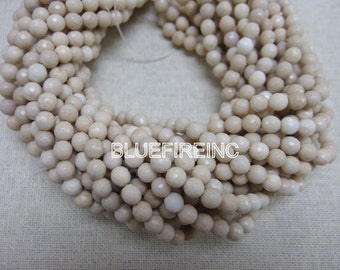48 pcs beads 16 inch long full strand cream color river stone jasper in 8mm  faceted round