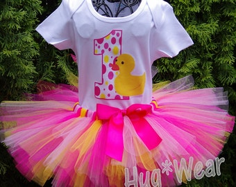 Custom Rubber Ducky Birthday Shirt + Tutu outfit (any age or colors) Pinks and Yellow