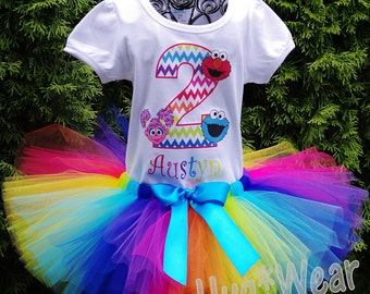 Rainbow Chevron Ses. Street  Birthday Shirt + Tutu outfit (Any age or character)