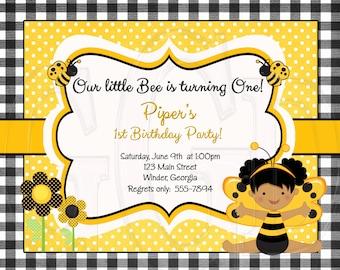Bumblebee Birthday or Shower Invitation -Digital File