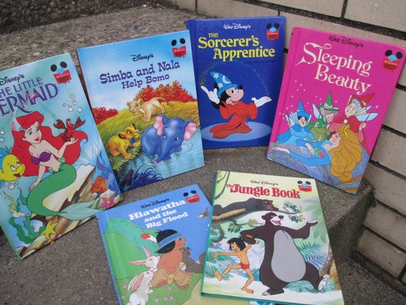 DISNEY STORYBOOKS - lot 6Vintage Kids Books - Sleeping Beauty, Hiawatha, Jungle Book, Little Mermaid, Mickey and Simba