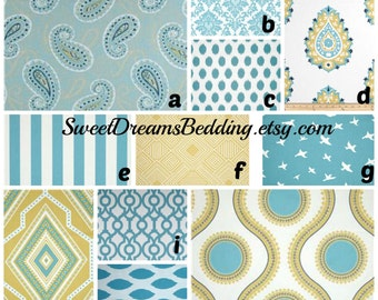 Custom Crib Bedding You Design   in  Coastal Blue and Yellow