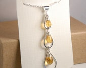 Citrine gemstone necklace, Sterling silver triple tear drop necklace, November birthstone necklace, minimalist, cascade teardrop