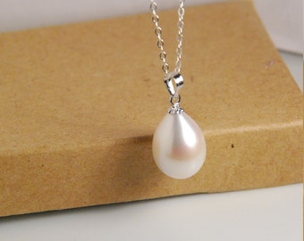 Pearl necklace, sterling silver necklace, with huge 15X11mm genuine grade AAA best lustrous fresh water pearl in natural white color