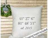 Longitude  Latitude | Housewarming Gift | New Home Gift | Personalized Pillow - Insert Included -  FREE SHIPPING