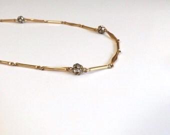 Antique Necklace Rhinestone Balls Gold Tone Book Chain Necklace - Fine Costume Jewelry