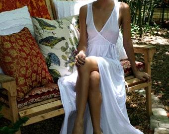 Ivory Silk Knit Bridal Nightgown Wedding Lingerie Sleepwear Honeymoon Beach Wrap Gown Cruise Lounge Summer Night Gown