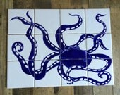 Mosaic octopus, tile, coaster, wall art, set of 12 hand painted tiles, bathroom, kitchen decor, blue and white