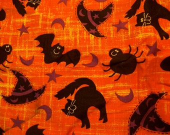 black cats and bats cotton fabric