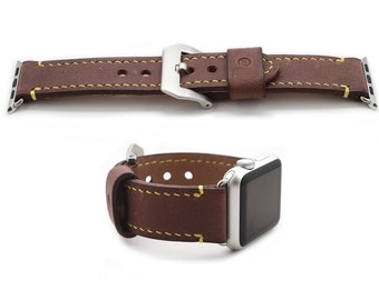 Hand Stitched Leather Apple Watch band in DEEP BURGUNDY (personalization available)