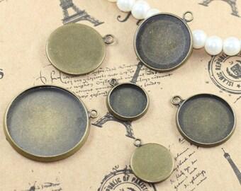 30 Brass Antique Bronzed Tone Round Cabochon Setting W/ Ring, 10mm/ 12mm/ 14mm/ 16mm/18mm/ 20mm/ 25mm as your choice- Z6217