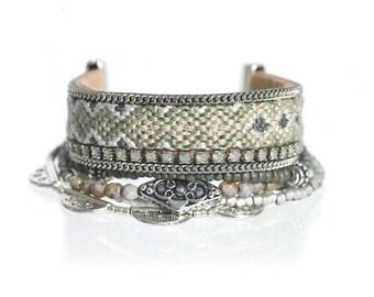 Beaded multistrand bracelet in sage green - Pantone desert sage - dmc friendship bracelet - boho chic bohemian jewelry - hippie bracelet