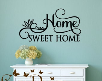 Home Sweet Home vinyl decal, quote vinyl wall decal, Custom removable decals stickers