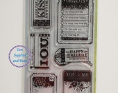 7pcs Inkadinkado Clear Stamps, Clear Stamps, Happy Birthday Stamps, Kiss Stamps