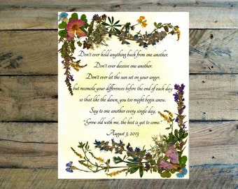 Wedding Flower Preservation - Real Pressed Flower Anniversary Gift