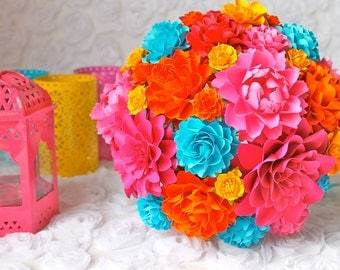 Mexican Inspired Wedding - Handmade Paper Flower Wedding Bouquet - Customize your Style and Colors - Made To Order
