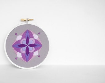 Beautiful Small Abstract Purple Mandala Hand Embroidery Hoop Art, 4 inch Embroidery Hoop Fiber Art in Plum, Lavender and Lilac