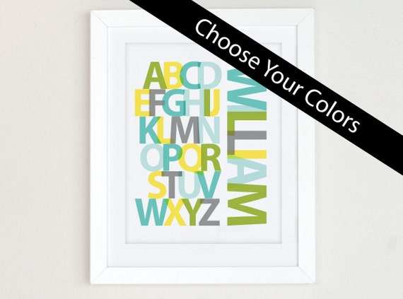 Personalized Alphabet Print, Alphabet Art, yellow gray nursery wall art, Alphabet Poster, ABC wall art, nursery decor, nursery art print