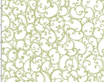 NEW Loralie Designs Scrollie White/Green fabric - 1 yard
