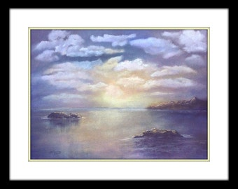 Scenic landscape painting, Original soft pastel drawing of a sunset and clouds reflectiing over serene water, Seascape painting, Etheral art
