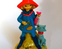Vintage 1960's Psychedelic Girl and Cat Fisherman Coin Bank!