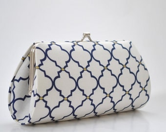 Ogee in White & Navy - Bridesmaid Clutch - Custom made clutch - Wedding clutch - Gift idea - For her