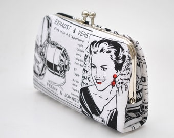 Newspaper in White -  Mini Coin Purse / Cards holder / Kiss lock purse