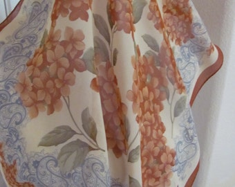 "Beautiful Small Light Brown Rust Floral Sheer Silk Scarf  - 20"" Inch 51cm Square"