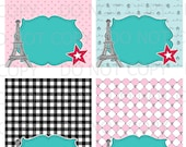 Printable Paris France Eiffel Tower Birthday Girl Doll Tent Food Labels- 4 designs blank - INSTANT DOWNLOAD