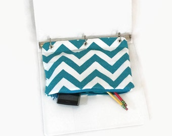 Binder Pencil Case Teal Chevron Organizing Case for 3 Ring Binder  Back to School Ready to Ship School Supplies Kids Gift Turquoise