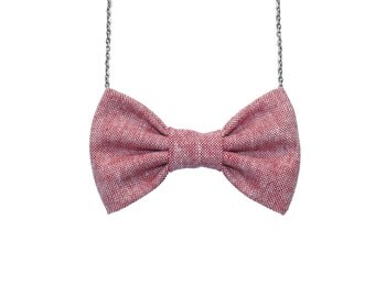 Red Essex Linen Blend- Chambray BowTie Necklace, Burgundy - Pre-tied No Collar Bowtie with Chain Closure for Parties, Holidays, Office