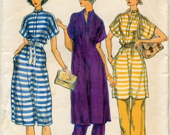 Vintage Loose Fitting Pullover Dress or Tunic and Pants Sewing Pattern - Vogue 9459 - Size 12 - UNCUT