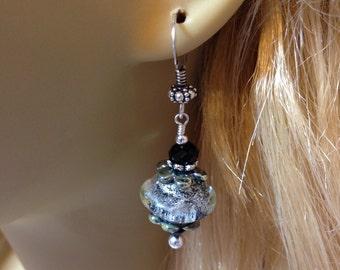 Artisan Lampwork Beads, Swarovski Crystal, Sterling Silver Earrings    ES1621