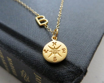 College Graduation gift, Sideway initial necklace with compass charm, personalized jewelry, journey, going away, gold silver, high school