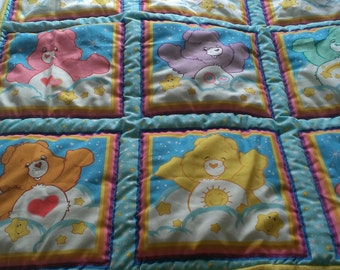 Handquilted Care Bear baby quilt and matching pillow