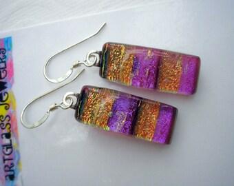 Earrings Fuschia & Orange Fused Dichroic Glass Sparkly Jewelry Pierced Earrings Dangle Iridescent Pink Purple Tangerine Transluscent Rose