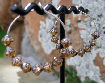 Sterling Silver Hoops with Brown Glass Beads