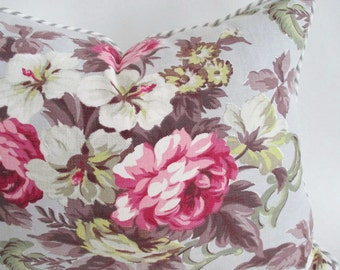 Pillow Cover Barkcloth Era Fabric Roses Ticking & Piping ready to ship 16 x 20