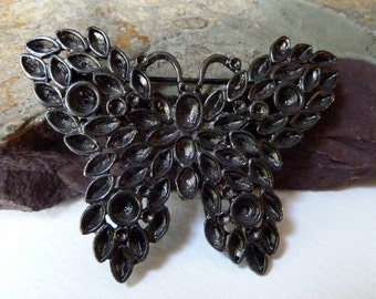Vintage Butterfly Pin Brooch Blank with Rhinestone Settings - 50 x 67mm - High Quality Strong Sturdy Black Vintage Casting