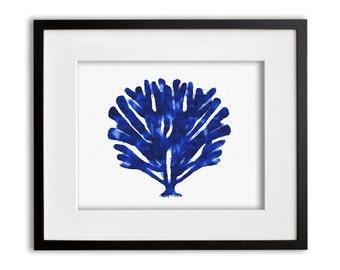 Cobalt Blue Coral Art Print Watercolor Coastal Wall Art 8x10 or 11x14