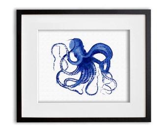 Cobalt Blue Octopus Art Print Watercolor Wall Art 8x10 or 11x14