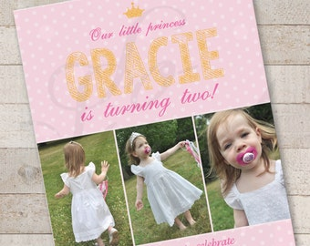 Princess Pink and Gold Invitations - Girls Birthday Invites - 1st Birthday Invitations - Girls Princess Dress Up Party - Set of 12